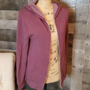 Double zero purple zip up hooded sweatshirt small